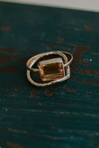 solid 14k yellow gold ring with bezel set citrine stone women's magical crystal gemstone jewelry simple minimal elegant chic boho vibes classic everyday piece hand made in haiku maui wings hawaii