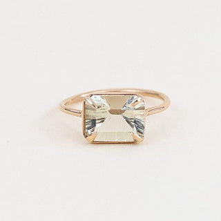 Emerald Cut Sunstone Ring - 14k
