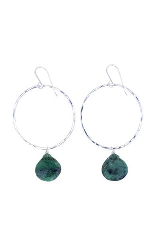 sterling silver hammered hoop earrings with emerald gemstone drops simple elegant minimal magical womens jewelry hand made haiku maui wings hawaii