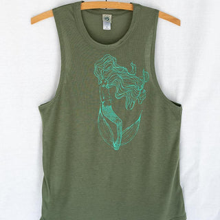 floating mermaid slinky muscle tank women's top green with teal mermaid graphic screen printed on the front wings hawaii