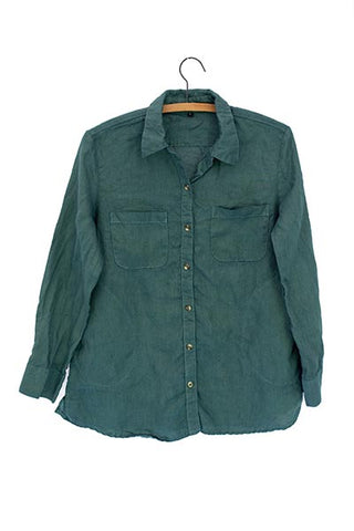 Linen Pocket Blouse - Hunter