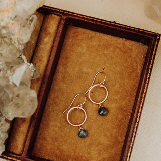 Petite Full Circle Earrings - 14k - Sapphire