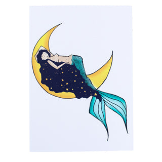 wings hawaii galaxy moon mermaid greeting card maui babe