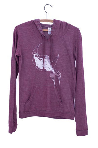 wings hawaii screen printed and dyed burgundy lightweight pullover hoodie with galaxy mermaid on front