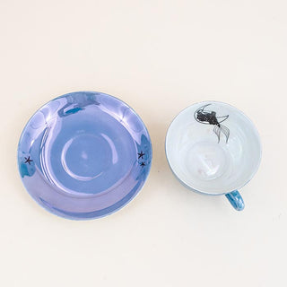 vintage teacup set with galaxy mermaid decals wings hawaii