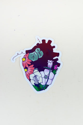 colorful garden heart sticker with flowers hand drawn maui hawaii artist