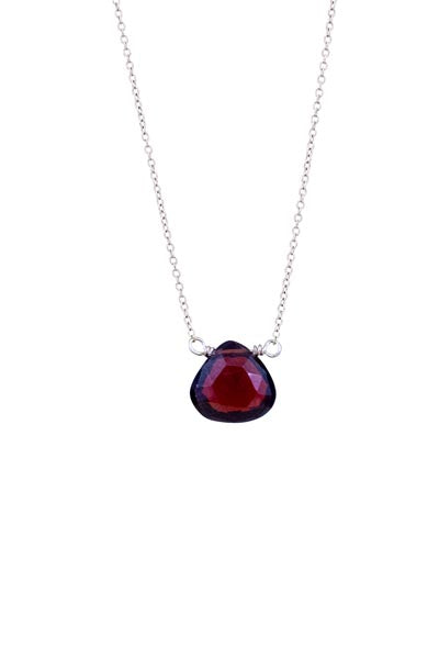 Single Stone Necklace - Garnet