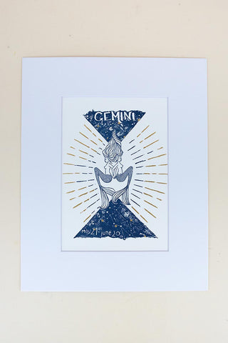 gemini mermaid zodiac print with mat blue and gold wings hawaii