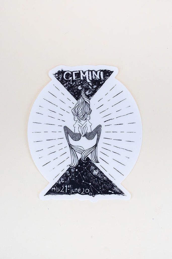gemini mermaid zodiac sticker large black and white decal wings hawaii