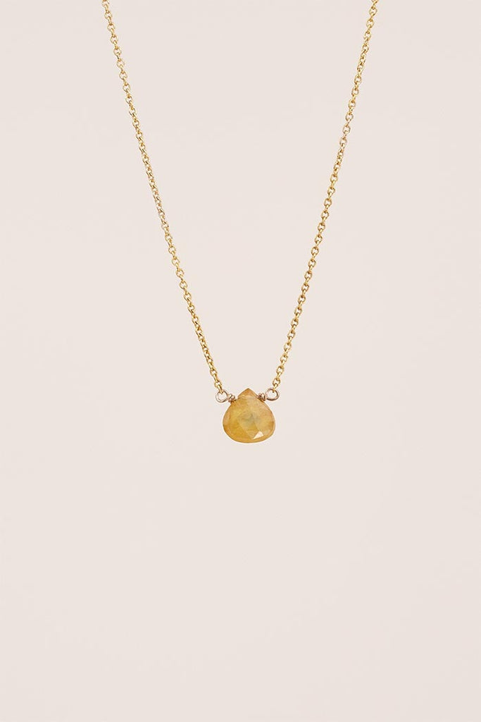 single stone necklace sterling silver or gold filled chain with golden sapphire gem stone in the center women's lovely jewelry that you can wear everyday simple and elegant minimal style mermaid treasure hand made with love in haiku maui by wings hawaii