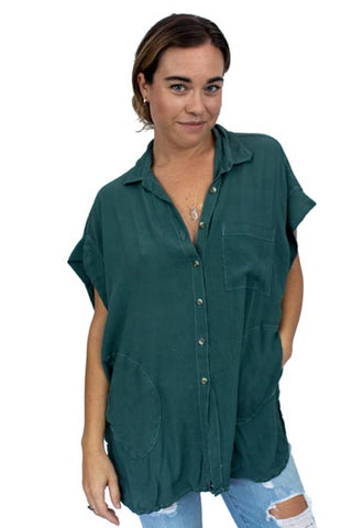 Short Sleeve Pocket Blouse - Hunter Rayon