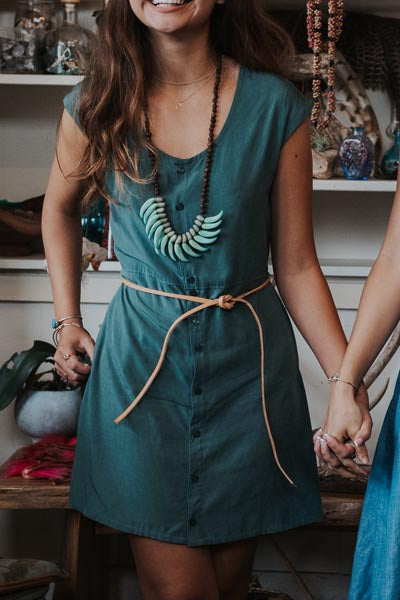 emma rayon button up womens dress with pockets teal green soft and comfy day to night outfit summer fall winter spring wear hand sewn haiku maui wings hawaii
