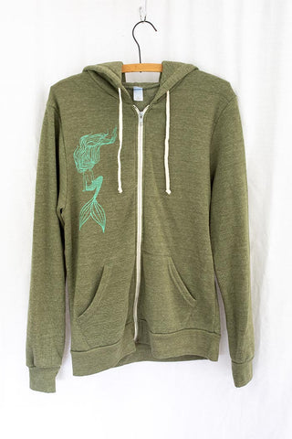 green zip up hoodie with teal mermaid graphic on the front with pockets wings hawaii