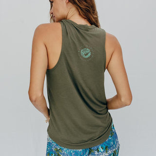rayon and poly blend olive green tank top with teal mermaid graphic on the front women's casual top muscle tank style mermaid attire screen printed haiku maui wings hawaii