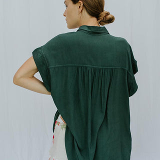 Short Sleeve Pocket Blouse - Rayon