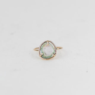 watermelon tourmaline slice ring prong set on solid 14k yellow gold wire women's magical crystal jewelry simple minimal chic style hand made haiku maui wings hawaii