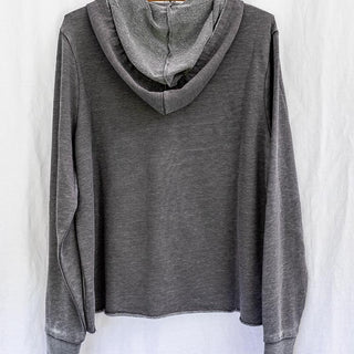 backside view of long sleeve grey pullover hoodie sweater