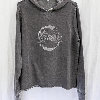 front view of a long sleeve grey hoodie sweater with white mermaid graphic in center