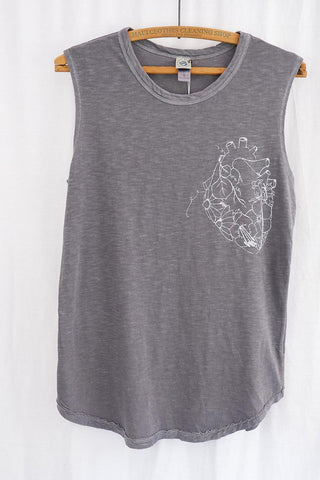 anatomical heart with flowers graphic screen printed onto super soft grey slub muscle tank women's casual clothing wings hawaii