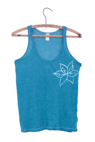 wings hawaii screen printed and dyed mermaid blue tank with a flower that says Hana in the petals on front