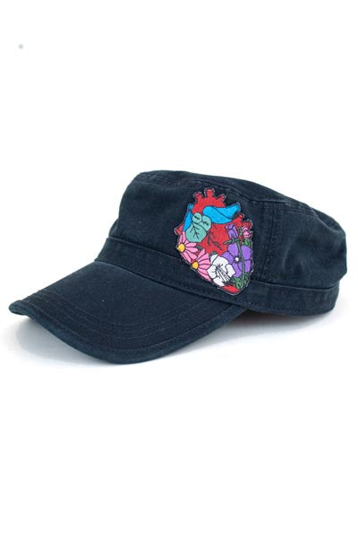 wings hawaii military style hat garden heart floral patch cap summer wear