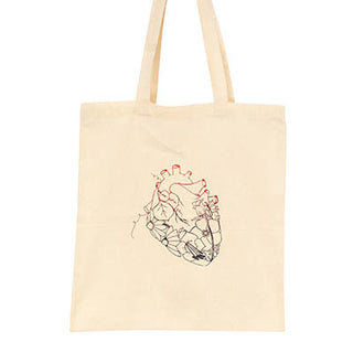 cotton canvas tote bag with heart and flowers print