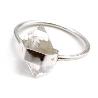wings hawaii hand made herkimer diamond clear quartz crystal wrapped ring sterling silver gold filled 14 karat gold magical dainty tiny stackable jewelry maui