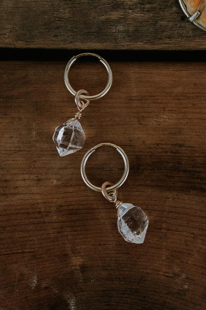 gold filled hoop earrings with herkimer diamond crystals tiny petite simple minimal boho chic magical jewelry elegant and classy hand made haiku maui wings hawaii