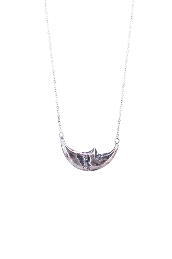 wings hawaii necklace with horizontal sleeping moon in solid sterling silver