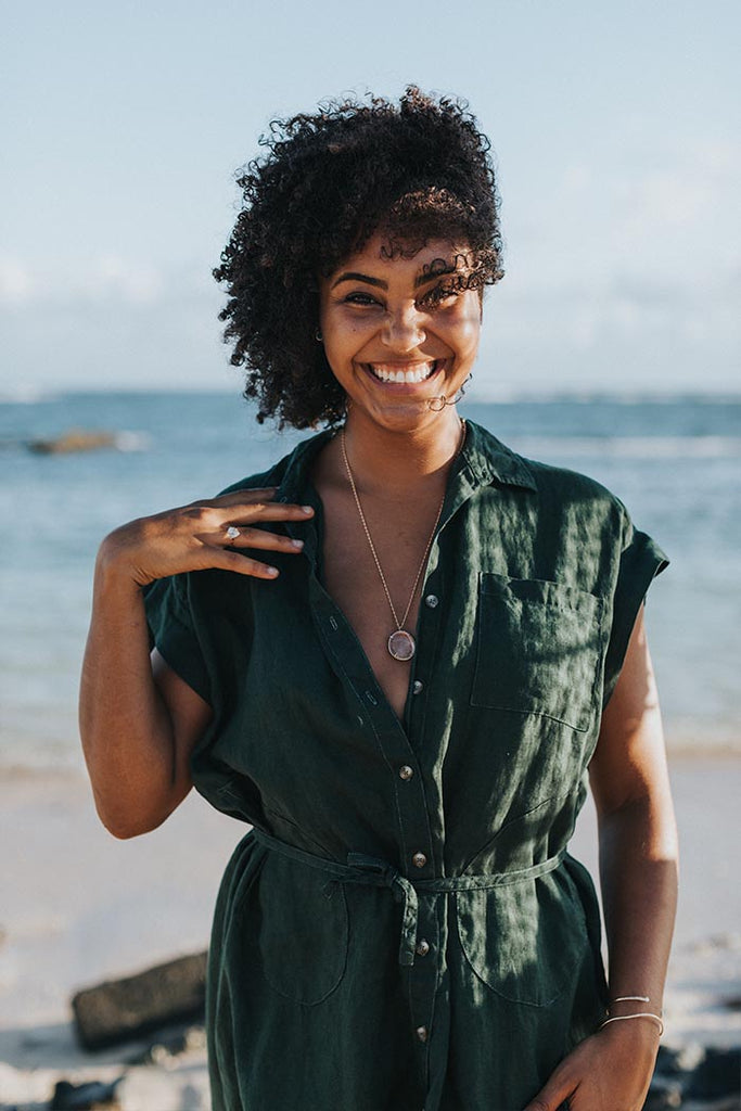 100% linen dress in hunter green button up front with pockets and collar fabric belt soft and casual women's everyday blouse dress summer essentials beach babe cover up day to night look hand sewn haiku maui wings hawaii