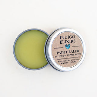 indigo elixirs pain healer relieve and repair salve made from organic botanical oils made in hawaii body product self care