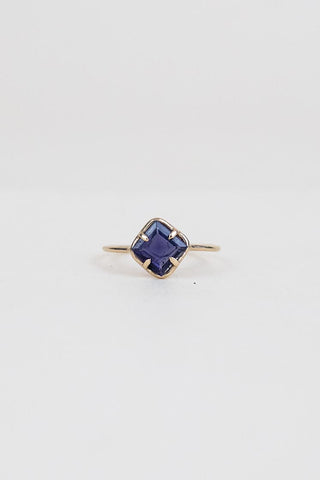 square cut iolite stone prong set on solid 14k yellow gold ring women's crystal jewelry fine dainty minimal boho jewels wings hawaii