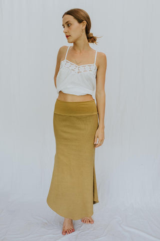 Ribbed Mermaid Skirt - Khaki