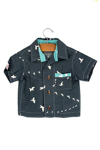 keiki children button up short sleeve shirt with pocket birds graphic print wings hawaii kids clothes
