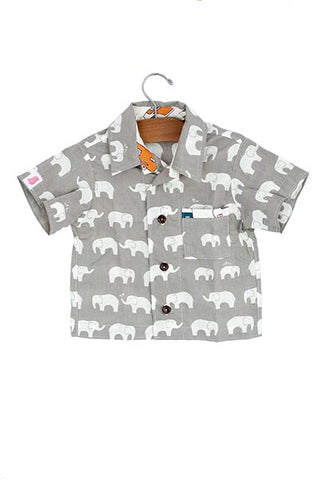 keiki children button up short sleeve shirt with pocket elephant graphic print wings hawaii kids clothes
