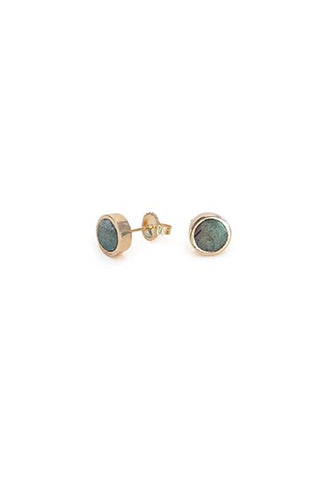 wings hawaii labradorite stud earrings 14 karat rose and yellow gold tiny simple jewelry hand made maui