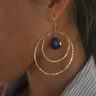wings hawaii double hoop earrings lapis lazuli stone gemstone fine jewelry sterling silver gold filled maui made