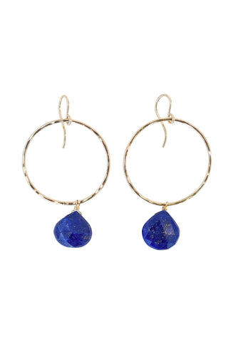 wings hawaii full circle hoop earrings lapis lazuli gem stone blue mermaid jewelry gold filled