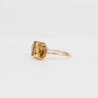 oval citrine stone prong set on solid 14k yellow gold ring women's crystal jewelry fine minimal dainty chic boho jewels wings hawaii