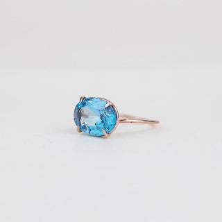 oval faceted blue topaz stone prong set on solid 14k rose gold ring women's crystal jewelry fine dainty chic boho jewels wings hawaii