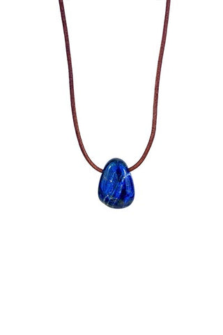 Leather Necklace - Lapis