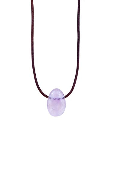 Leather Necklace - Rose Quartz