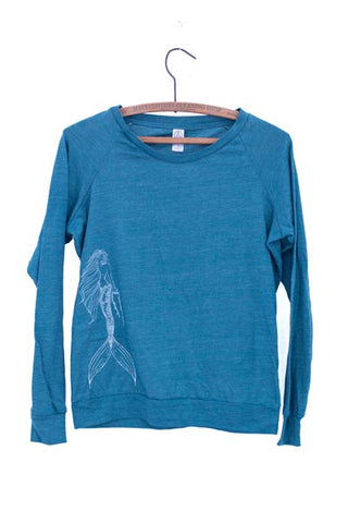wings hawaii screen printed and dyed mermaid blue eco pullover with mermaid hold a lei on front