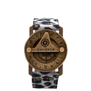 pandeia sundial compass watch brass with cheetah print wrist band vintage style boho magic women's wrist watch jungle fashion made in haiku maui leopard collection