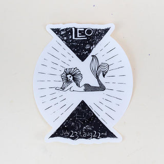 leo mermaid zodiac sticker large black and white decal wings hawaii