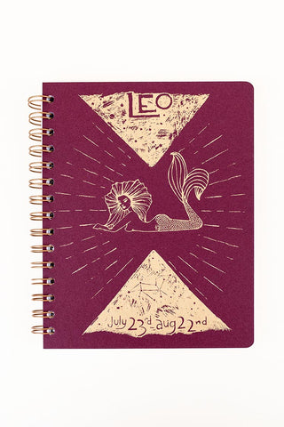 zodiac journal notebook leo birthday season mermaid artwork wings hawaii