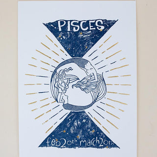 pisces letter press print navy blue with gold foil mermaid art work on heavy card stock original design by wings hawaii zodiac celestial art