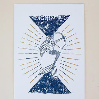 sagittarius letter press print navy blue with gold foil mermaid archer art work on heavy card stock zodiac celestial original design by wings hawaii