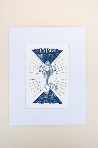 libra mermaid zodiac print with mat blue and gold wings hawaii