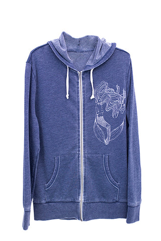 wings hawaii soft zip up hoodie with hand screen printed original mermaid art